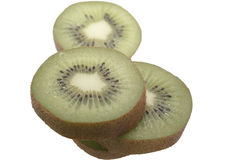 Slice of fresh kiwi fruit isolated on white Royalty Free Stock Photos