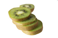 Slice of fresh kiwi fruit isolated on white Royalty Free Stock Photos