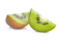 Slice of fresh kiwi fruit isolated on white Royalty Free Stock Images