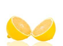 Slice of fresh lemon isolated Stock Photos