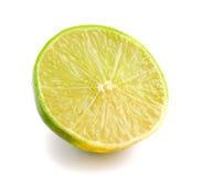 Slice of fresh lemon  on white background Stock Photo