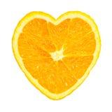Slice of fresh orange heart shaped stock photo
