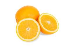 Slice of fresh orange isolated on white background Stock Photo