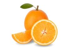 Slice of fresh orange isolated on white background Royalty Free Stock Photos