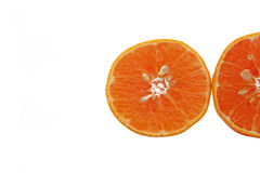 Slice of fresh orange. Two Slice of fresh orange on white background Royalty Free Stock Photography