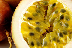 Slice fresh passionfruit Stock Photos