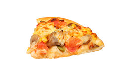 Slice of fresh pizza with pepperoni Royalty Free Stock Photos
