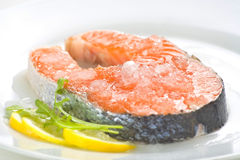 Slice of fresh salmon and healthy Royalty Free Stock Photography