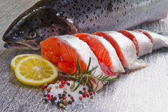 Slice of fresh salmon Stock Photos