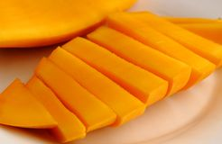 Slice fresh Thai mango fruit stock photo