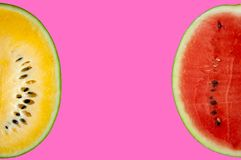 The slice of fresh yellow and red color watermelon. royalty free stock image