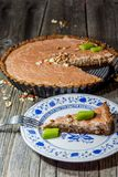 Slice of rhubarb pie on a plate Royalty Free Stock Photography