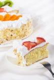 Slice of fruit flan cake Royalty Free Stock Image