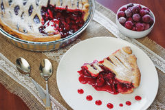 Slice of fruit pie with cherries Royalty Free Stock Photography