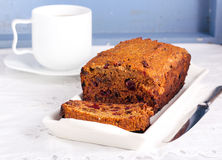 Slice of fruit and rum cake Royalty Free Stock Photography