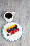 Slice of fruit tart with coffee Royalty Free Stock Images