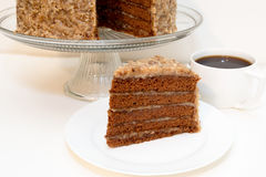 Slice of German Chocolate Cake and Coffee Stock Photos