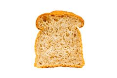 Slice of germinated brown rice bread isolated on white. Background Royalty Free Stock Photos