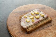 Slice of granary bread with soppressata sausage. Slice of granary bread with Italien speciality soppressata sausage royalty free stock photos