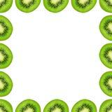 Slice of green raw kiwi fruit background, frame and border, empty space.  stock photos