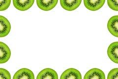 Slice of green raw kiwi fruit background, frame and border, empty space.  stock image