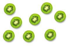 Slice of green raw kiwi fruit pattern background.  stock photography