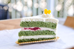 Slice of Green Tea Cake Royalty Free Stock Photo