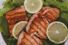 Slice of grilled salmon Stock Photo