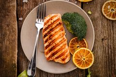 Slice of grilled salmon royalty free stock photo