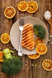 Slice of grilled salmon Stock Images