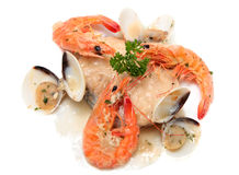 Slice of hake with seafood Royalty Free Stock Image