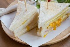 Slice ham cheese egg sandwich breakfast with fresh vegetable Stock Photography