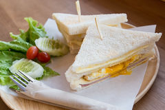 Slice ham cheese egg sandwich breakfast with fresh vegetable Stock Photos