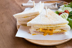 Slice ham cheese egg sandwich breakfast with fresh vegetable Royalty Free Stock Photography