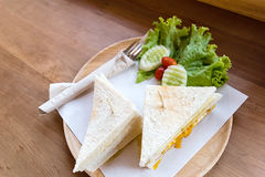 Slice ham cheese egg sandwich breakfast with fresh vegetable Royalty Free Stock Photo
