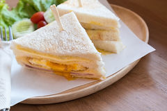 Slice ham cheese egg sandwich breakfast with fresh vegetable Royalty Free Stock Photos