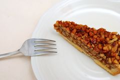 Slice of hazel nut tart Stock Photography