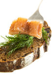 Slice of herring and black bread. Stock Images