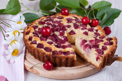 Slice of сherry pie. Close-up Stock Photos