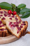 Slice of сherry pie. Close-up Stock Images