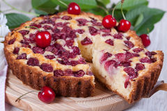 Slice of сherry pie. Close-up Stock Photo