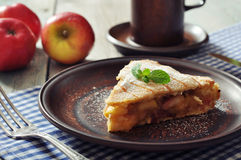 Slice of homemade apple pie Stock Images