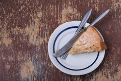 Slice of homemade apple pie on plate Royalty Free Stock Photography