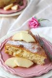 Slice of homemade apple sponge cake on pink plate Stock Images