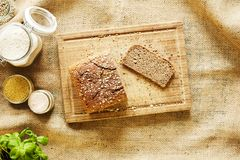Slice of homemade bread royalty free stock photography