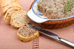 Slice of homemade bread with pate Stock Photo