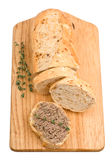 Slice of homemade bread with pate and herbs Royalty Free Stock Photo