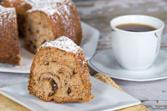 Slice of homemade bundt cake Royalty Free Stock Photography
