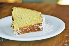 Slice of homemade cake with coconut flakes royalty free stock photo