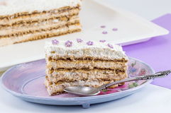 Slice of homemade cake made out of biscuits on a plate Stock Photos